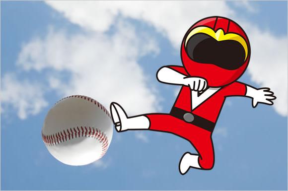 野球のボールと赤レンジャー